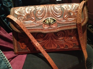 vintage tooled leather bag - probably from 1940s