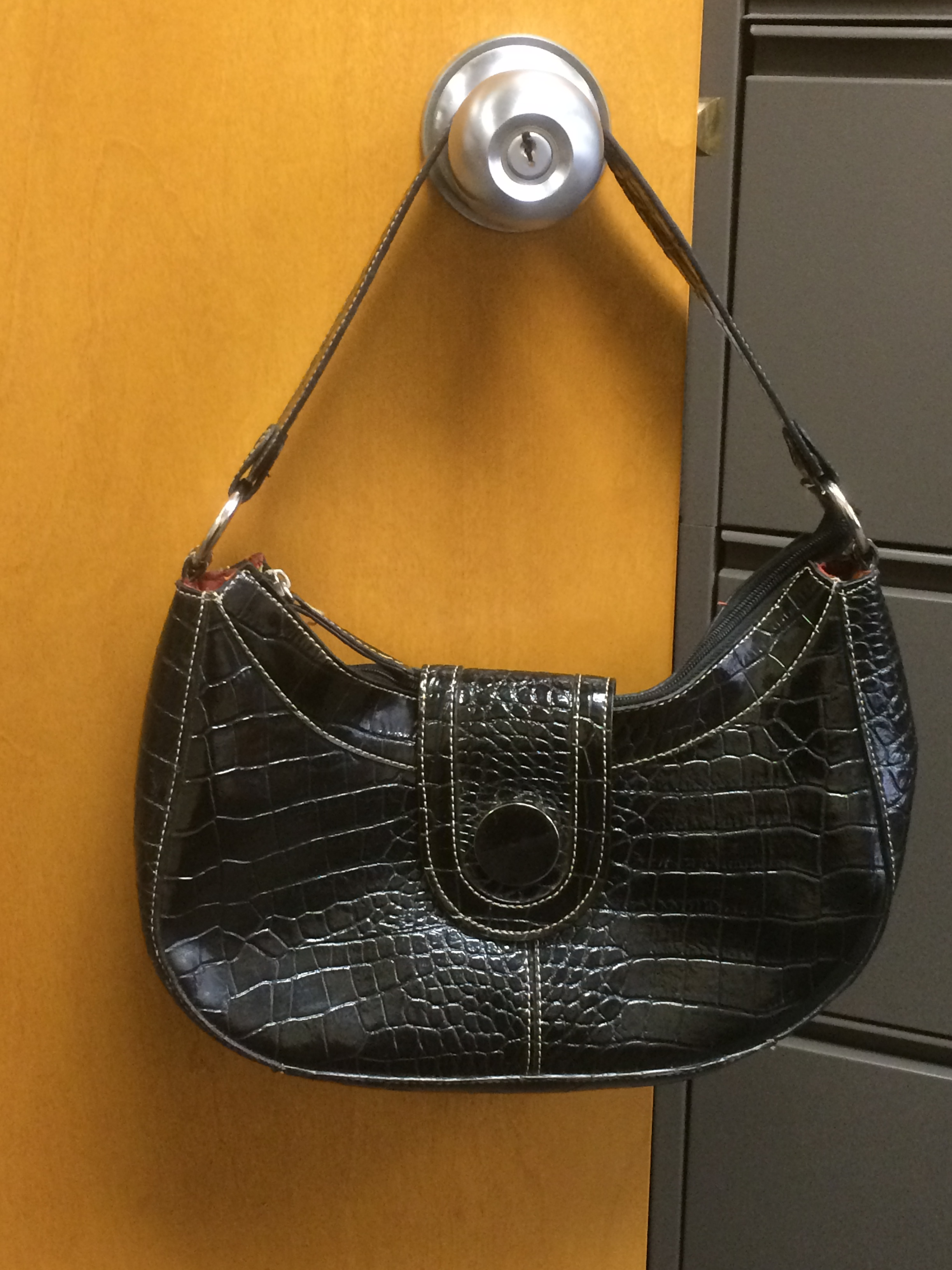 44c73af6bf2b Here's a cute little black faux mock croc purse by emille m. This is a  brand you can find sometimes at TJ Maxx. It's got a colorful lining and  inside zipper ...